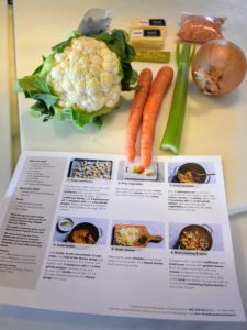Here are the ingredients and menu card for the third recipe - the Lentil & Cauliflower Soup.