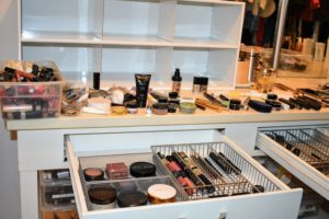 My favorite and most used cosmetics were placed in organized trays in each drawer for easy access.