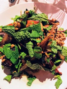 Chef Dan Kluger used experimental oats, carrots, and chili for his salad.