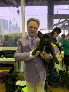 James Dalton of Fabelhaft Kennels in Portsmouth, Ohio, is always here - he is the breeder of Creme Brulee and Bete Noir, who are watching all the excitement of the shows from my Bedford, New York farm. This is James with his brindle Frenchie, Prada.