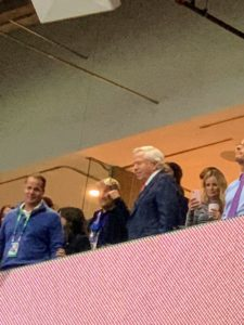 Here is Robert Kraft looking very happy watching from his box.