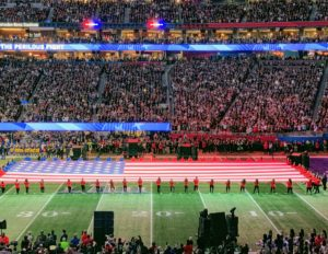 I love seeing the giant United States flag - it is always such a beautiful part of the pre-game ceremony.