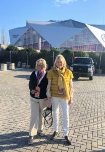 Here I am with my friend, Jane in front of the stadium. I'm wearing my quilted down short sleeve puffer jacket from my collection at QVC. It's yarrow gold - I didn't realize it was so close to the color of the Rams uniforms.