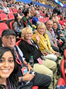 Here's a fun group photo of Christine, Steve, Jane, myself, Jeff and Melissa. Our seats were on the 35-yard line. We were surrounded by both Patriots and Rams fans.