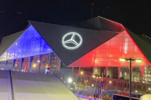Here is the stadium at night - all aglow with the winning New England Patriots colors after Super Bowl LIII.