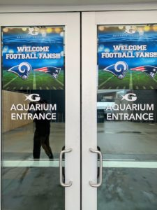 I always try to include as much as I can during my trips, so they are productive, informative and fun. Here we are at the Georgia Aquarium, where they welcomed all the visiting Super Bowl fans.