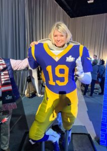 Once inside, I took a photo behind the football uniform mannequin.