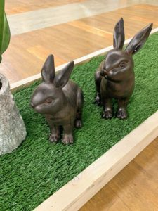 These bunnies come in antique ivory and bronze and in two different sizes.