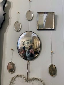 I went inside to see the two mirrors that caught my eye - they were handmade by a contemporary glass artist in England. The smaller ones had silver leaf. I admired them all.