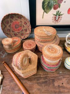 The Locust Tree also has these very pretty Indian baskets - I love baskets and have a large collection of my own at my Bedford, New York farm. In fact, some of you may recall, I built a small house just to store some of my many, many baskets.