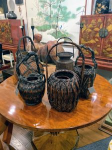 I was astonished by the high prices for anything Asian, such as these Japanese flower arranging baskets. Naga is a leading dealer of fine furniture, decorative objects, and Japanese pieces including an inventory of more than 350 Japanese screens. I also have quite a few Asian baskets like these in my collection.