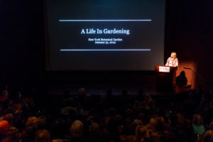 "My presentation was titled ""A Life in Gardening"". I shared photos of my father, my home on Turkey Hill in Westport, Connecticut, and the gardens I created over the years. (Photo by Marlon Co for NYBG)"
