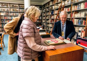 Here we are in the LuEsther T. Mertz Library, an amazing research and public library that is used as a scholarly resource and a general plant information service. Stephen Sinon is the William B. O'Connor Curator of Special Collections, Research & Archives at the Library - he showed us many beautiful books and illustrations. (Photo by Marlon Co for NYBG)
