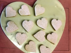 "These are some of the Brazilian sandwich cookies called casadinhos that we made on Facebook LIVE. Portuguese for ""married,"" casadinhos are bite-size sandwich cookies that are often served at weddings in Brazil. For our Valentine's Day version, we made them heart-shaped and filled with them with guava. I first made these in Season-9 of ""Martha Bakes"". The recipe is also available on MarthaStewart.com"