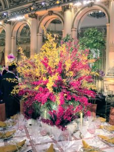 A fun palette of pinks and yellows topped this table by Cathy Kincaid. http://www.cathy-kincaid.com/
