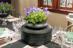 If you're in search of a unique table centerpiece and happen to have extra tires laying around, this project is for you!
