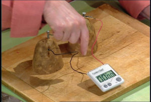 Another April Fools'! Starch, salt, and water in potatoes can produce a very low-watt of electricity, like a small calculator or simple LED clock. There isn't enough power to run a light bulb, or anything larger.