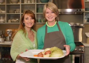 Over the years, many guests have joined me on set to celebrate St. Patrick's Day. Here, actress Jane Seymour helps me prepare a traditional corned beef and cabbage dinner.