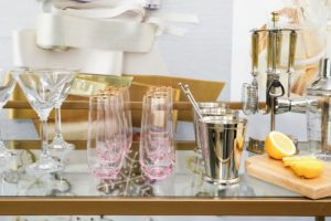 On the bar cart in our Perry St. Collection - bar pieces from Macy's. (Photo by Benjamin Lozovsky/BFA)
