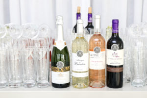 We offered several wine selections from the Martha Stewart Wine Co., including a 2017 Marquis de Bacalon Bordeaux Blanc, a 2017 Racine Cotes de Provence Rose, a 2017 Le Vassal de Mercues Cuvee le Dueze Malbec, and a Georges Vigouroux Hommage Blanc de Blancs. (Photo by Benjamin Lozovsky/BFA)