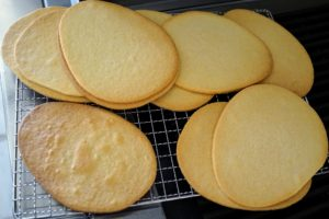 I love making these giant egg shaped sugar cookies - they're about seven-inches across.