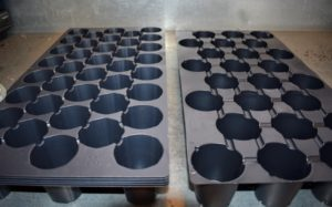 Seed starting trays come in all different sizes and depths. Select the right kind of tray based on the size of the seeds. These trays are also from Johnny's. They come with rounded cells in trays of 24 or 38 each.