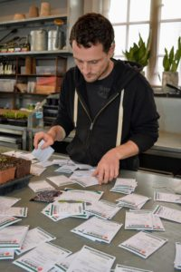 Johnny's Selected Seeds is a privately held, employee-owned organic seed producer in Winslow, Maine. Every year, I get a wide selection of both flower seeds and vegetable seeds from Johnny's. Once they arrive, Ryan sorts them according to type. http://www.johnnyseeds.com