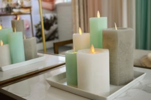 Pillar candles are also available at QVC - every kind of color and style.