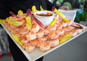 My friend, Chef Pierre Schaedelin from PS Tailored Events, and his excellent team, prepared all our small bites. This is wild caught shrimp from our partners at True North served with cocktail sauce.