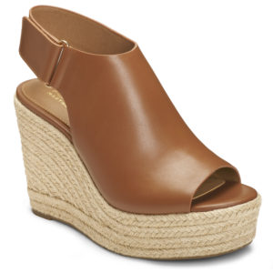 I love the rich, bold cognac and the rope-wrapped wedge design - so great for a day and night on the town.