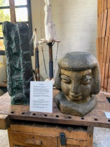 Here are more pieces from her studio - model pieces made from various types of brick, wood, bronze and granite.