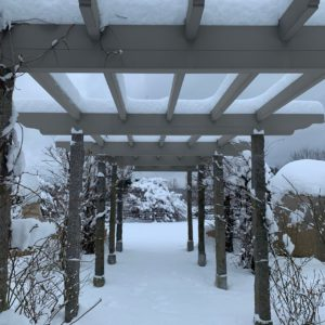 "This view looks toward my ""Party Lawn"" under a walkway in the center of the pergola. Look up and see the snow framing each section of wood."