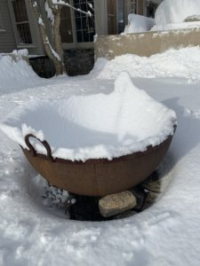 This is one of two gigantic antique iron sugar kettles that I have on my Terrace Parterre. They make wonderful outdoor fire pits - look how the snow has molded around the inside of the bowl.