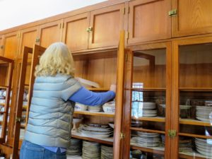 Here's Gretchen preparing another shelf - this entire process takes several days, but it is nice to know everything will be ready for this summer of dinner parties.