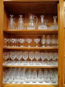My Baccarat collection includes many glasses, goblets, decanters, pitchers, and more. They are all hand washed and returned to their shelves.