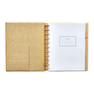 My gold faux leather discbound notebook is nine-inches by 11-inches and has 120-pages.