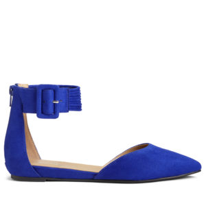 And this is the Town Car. This shoe is a very flattering two piece silhouette with a soft pointed toe and ankle strap and buckle. It comes in this rich blue micro suede, a black micro suede and a tan micro suede. Plus, a zipper in the back makes them easy to put on and take off.
