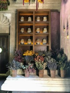 Here is another corner of the Apothecary with more buckets of fragrant herbs.
