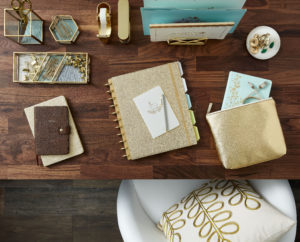 My gold desk supplies are from Staples - so pretty for any home office.