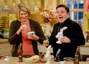 Here, stage and screen actor Nathan Lane joined me to create decorative faux chocolate bunnies.