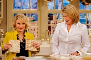 The late, and outrageous, comedienne Joan Rivers kept our audiences in stitches during her visits. To celebrate Passover, we garnished matzo with chocolate and dried fruit.