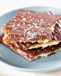 Another delicious dessert - sea-salt topped caramel-chocolate matzo for Passover... or any time.
