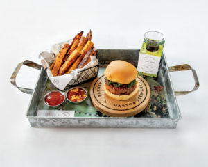 The burger comes with more of my sweet potato fries tossed with rosemary and Bardolay Pinot Noir from Martha Stewart Wine Co. These burgers were served on custom Barneys and Martha Stewart boards on top of trays showing aerial views of my farm.
