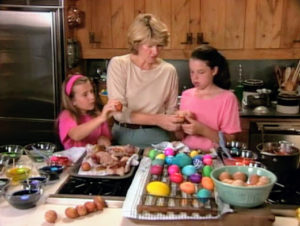 On this segment, two young neighbors join me in my Turkey Hill kitchen to decorate eggs with adhesive vinyl letters. You can use gel paste food coloring to create custom colors.