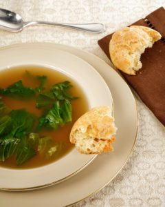 Cookbook author and journalist Joan Nathan is a frequent guest on my programs. Together, we made this escarole soup and Passover popovers.