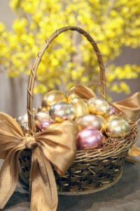 To prevent eggs from spoiling, blow out the contents with an egg blower. These beautiful gold and pink gilded eggs grace my Easter vignettes year after year.