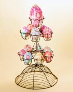 These bright, intricately patterned eggs are created reusing scraps of silk ties and scarves.
