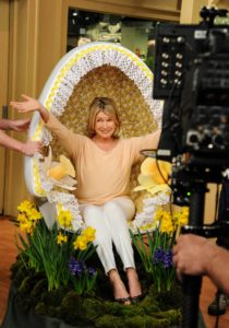 "This is me making an ""egg-trance"". My creative television staff transformed an Arne Jacobsen egg-shaped chair into a one-woman Easter parade!"