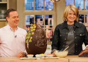 Renowned chocolatier Jacques Torres is famous for his elaborate creations, including giant chocolate eggs and rabbits.