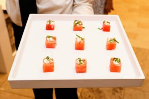 Among the hors d'oeuvres served - these watermelon and feta mint bites. (Photo by Neil Rasmus, BFA)